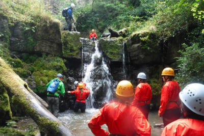 Gorge scrambling near Brecon Beacons Forest of Dean Wye Valley Monmouthshire